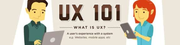 UX 101 as shown by two people in front of different sized computers