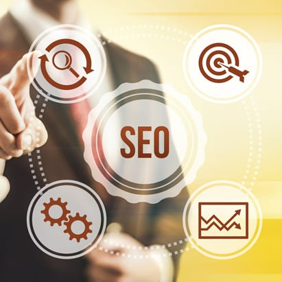 SEO is shown as the center of online strategy in a graph