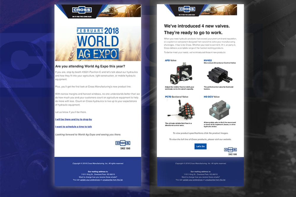 Cross Manufacturing Email Campaign